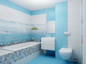 Сочетание белой и голубой плитки в ванной комнате