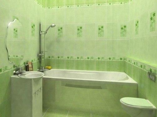 Салатовая плитка в ванной придает нежность и уют